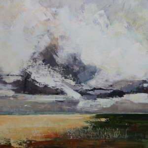"Barbara Shore Cloud Burst: The Approach 24"" x 48""Mixed Media on Cradled Board"