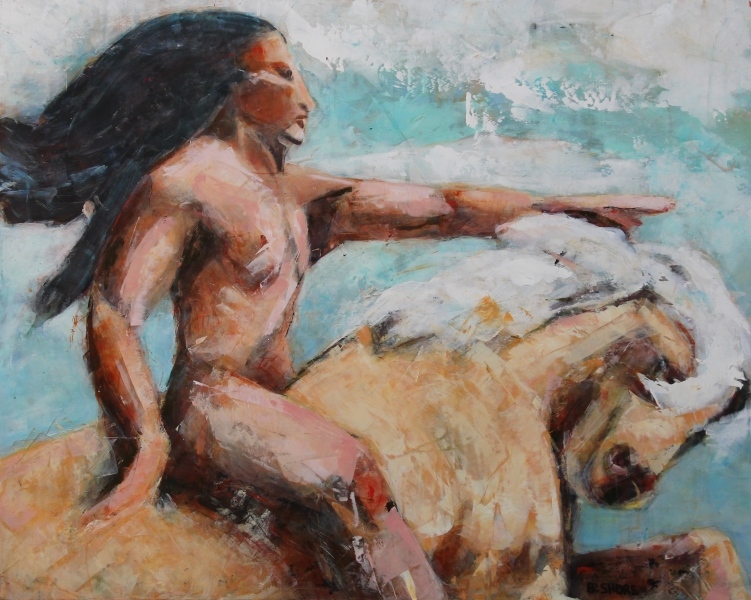 "Barbara Shore Mystical Visionary Rider for Freedom 24""x30"" Mixed Media on Cradled Board $950.00JPG"