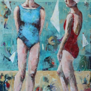 "SOLD Barbara Shore Beach Memory 60"" x 40"" Mixed Media on Cradled Board Canvas Gallery Toronto SOLD"