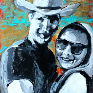 "Barbara Shore Cowboy and the City Girl 24"" x 24"" Mixed Media on Cradled Board Private Collection"