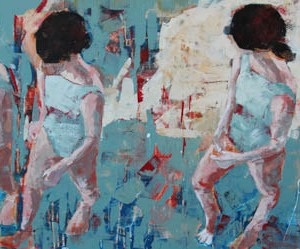 "Barbara Shore In Between Realities Never Look Back 24"" x-48"" Mixed Media on Cradleboard Canvas Gallery Toronto SOLD"