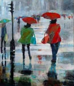 "Barbara Shore Rainy Day 30""x24"" Acrylic on Cradled Board 30x24 inchesSOLD."