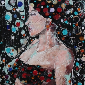 "Barbara Shore Maddness 24"" x 18"" Mixed Media on Paper $970.00"