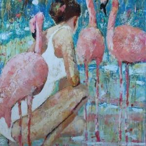"Barbara-Shore Grace 40""-x-30"" Mixed-Media-on-Cradled-Board.$1750.00 Canvas Gallery Toronto"