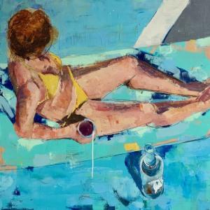 """Barbara Shore Adrift 36""""x 36"""" Mixed Media on Canvas $2090.00"""