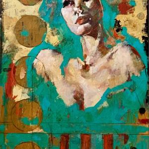 "Barbara Shore Apparition 36"" x  24"" Mixed Media on Cradled Board $1740.00"