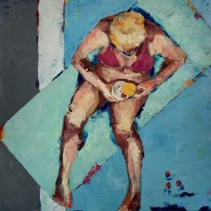 """Barbara Shore Cherry Lemonade 36"""" x-36"""" Mixed Media on Canvas $2090.00"""