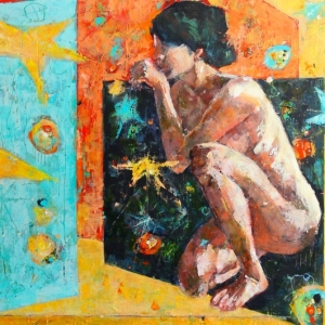 "Barbara Shore Muse 40"" x 60"" Mixed Media on Cradled Board $2200.00"