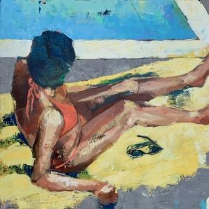 "Barbara Shore On Deck  36""x-36"" Mixed Media on Canvas $2090.00"