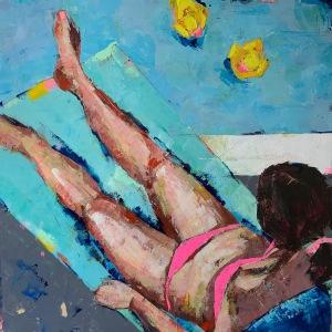 """Barbara Shore Poolside Folly 36"""" x- 6""""Mixed Media on Canvas$2090.00"""