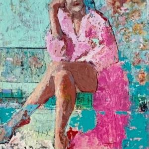 "Barbara Shore FLAMINGO-30""x24"" $1400.00  Art Gallery of St Albert"