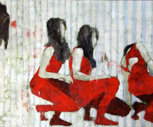 """Barbara Shore Then One Day You Realize 24"""" x 48""""Mixed Media on Cradled Board"""